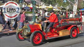 A front seat ride on the Disneyland fire engine down Main Street