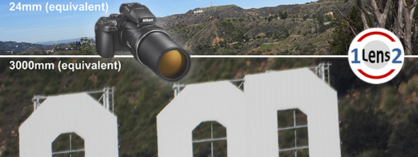 Zooming in close up to the Hollywood sign